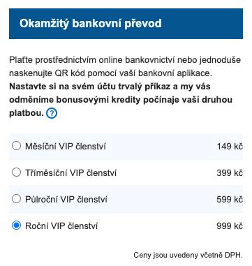 Okamžitý bankovní převod